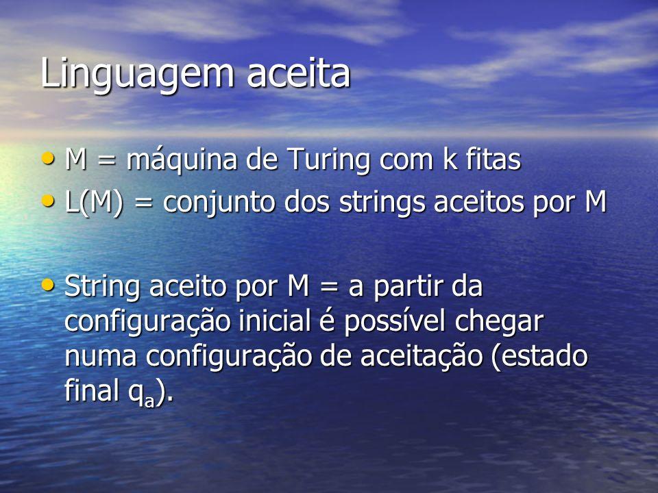 Linguagem aceita M = máquina de Turing com k fitas