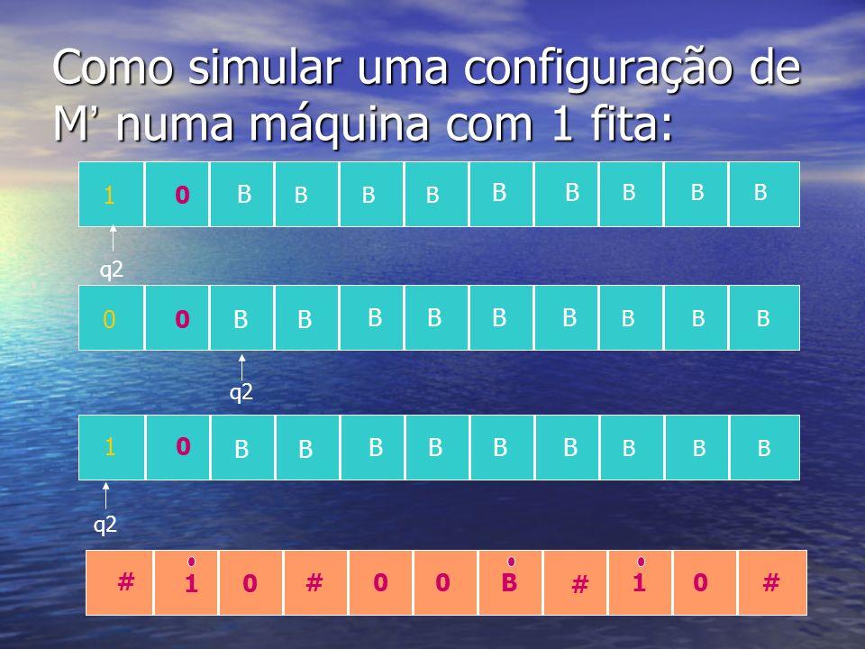 Como simular uma configuração de M' numa máquina com 1 fita: