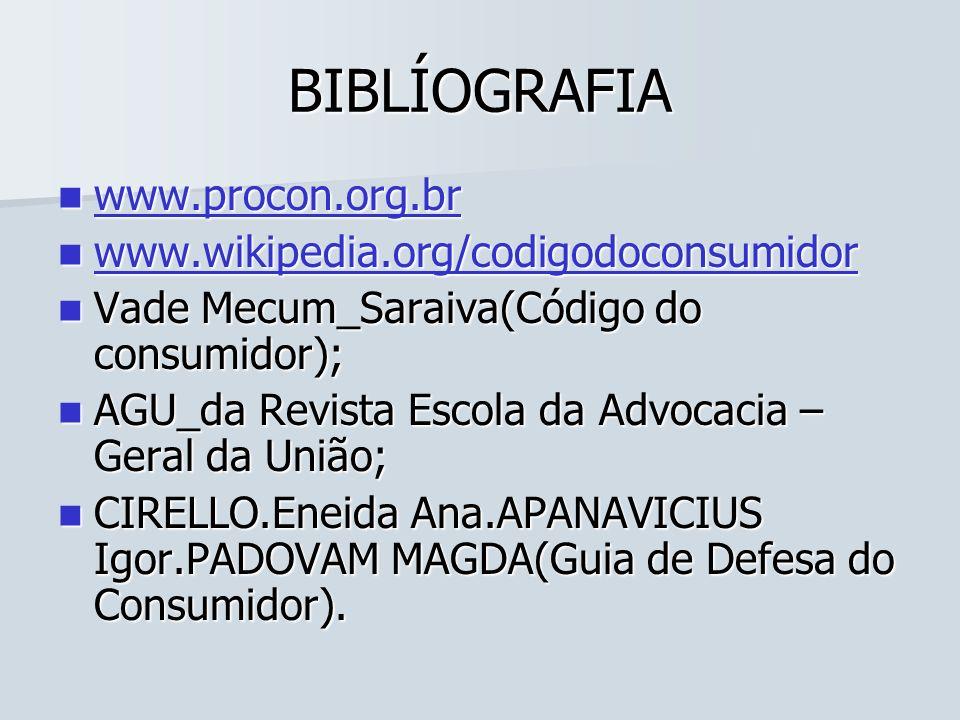 BIBLÍOGRAFIA www.procon.org.br www.wikipedia.org/codigodoconsumidor