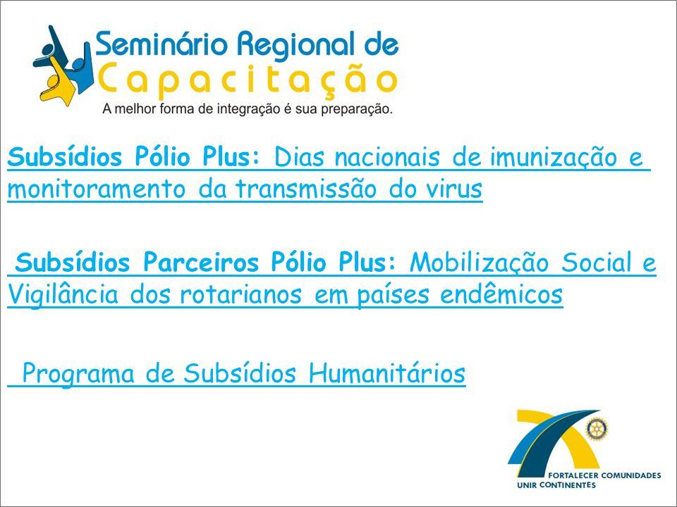 Subsídios Pólio Plus: Dias nacionais de imunização e