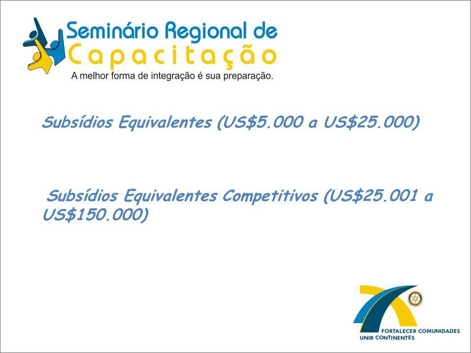 Subsídios Equivalentes (US$5.000 a US$25.000)