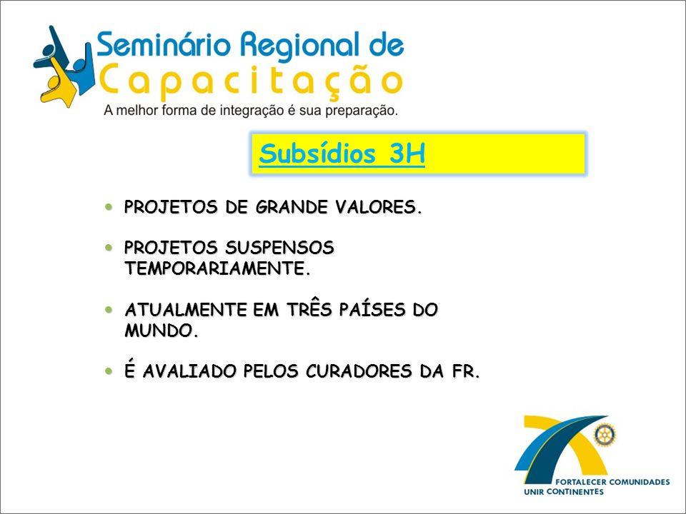 Subsídios 3H PROJETOS DE GRANDE VALORES.