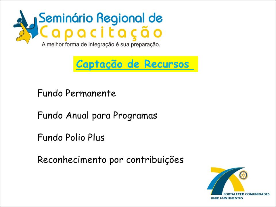 Captação de Recursos Fundo Permanente Fundo Anual para Programas