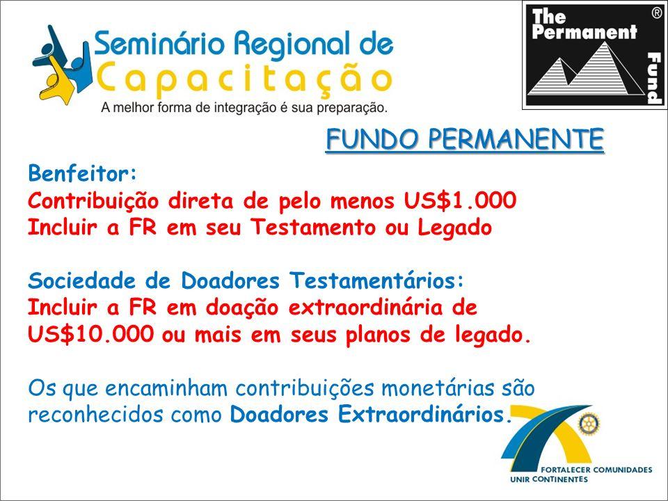 FUNDO PERMANENTE Benfeitor: Contribuição direta de pelo menos US$1.000