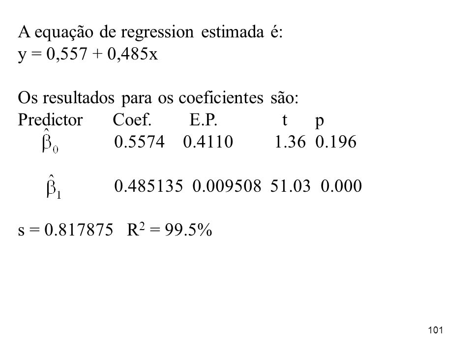 A equação de regression estimada é: