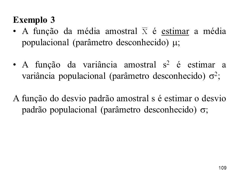 Exemplo 3 A função da média amostral é estimar a média populacional (parâmetro desconhecido) ;