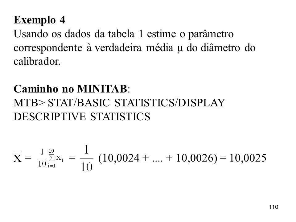 Exemplo 4 Usando os dados da tabela 1 estime o parâmetro correspondente à verdadeira média  do diâmetro do calibrador.