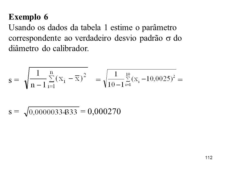 Exemplo 6Usando os dados da tabela 1 estime o parâmetro correspondente ao verdadeiro desvio padrão  do diâmetro do calibrador.