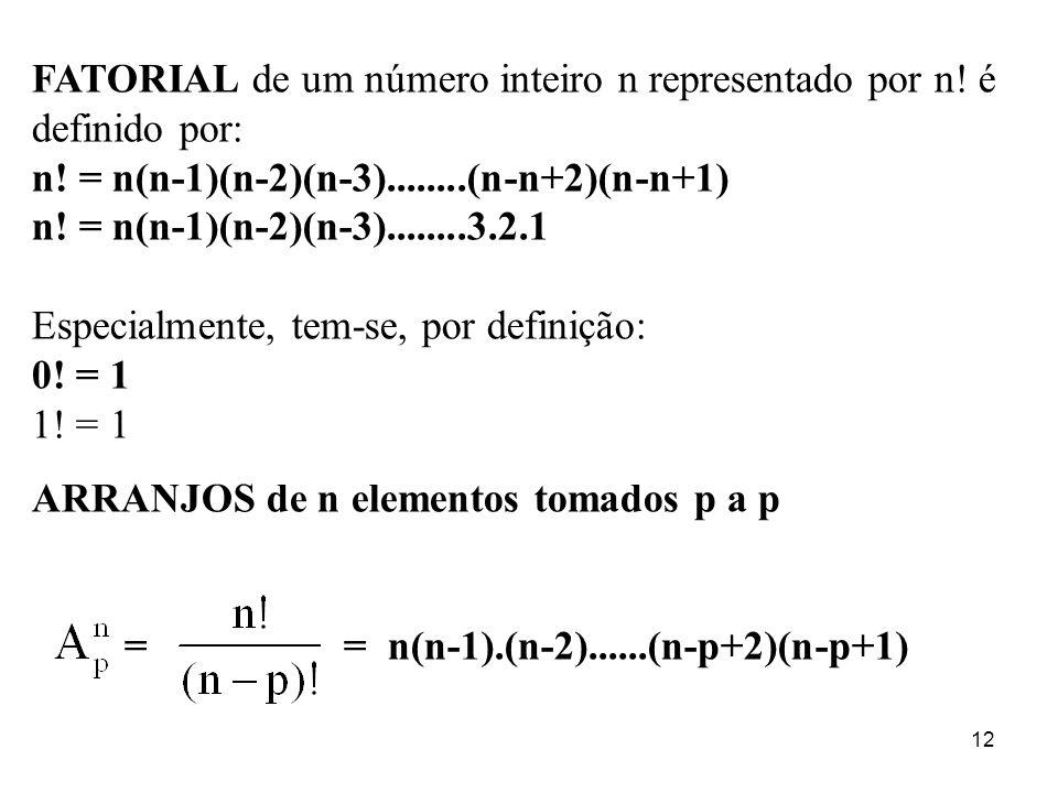 FATORIAL de um número inteiro n representado por n! é definido por: