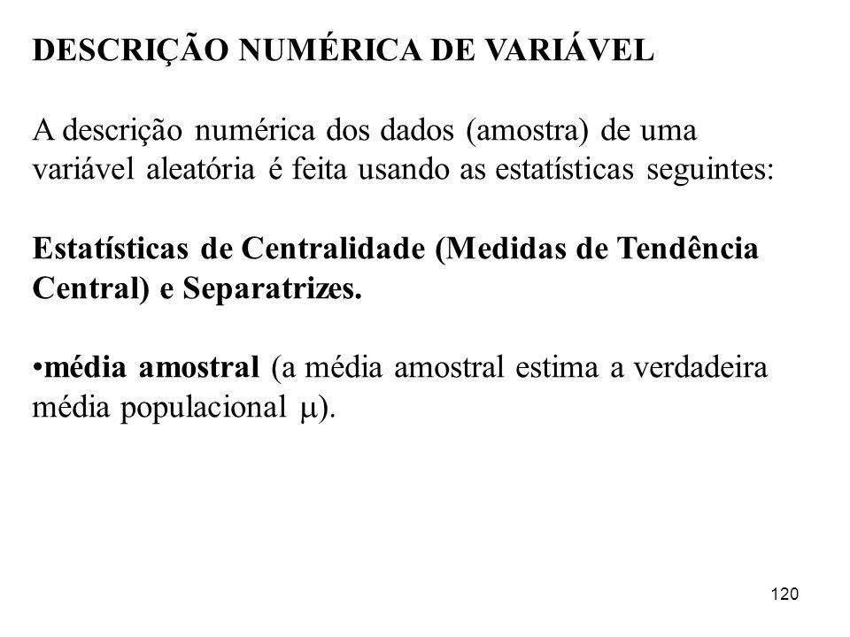 DESCRIÇÃO NUMÉRICA DE VARIÁVEL