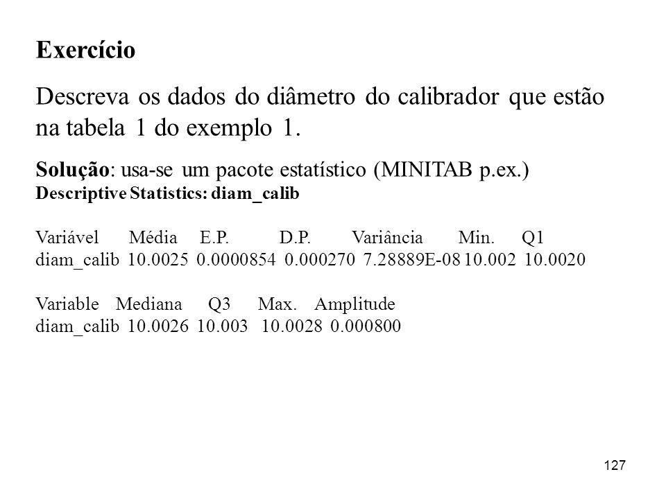 Exercício Descreva os dados do diâmetro do calibrador que estão na tabela 1 do exemplo 1. Solução: usa-se um pacote estatístico (MINITAB p.ex.)