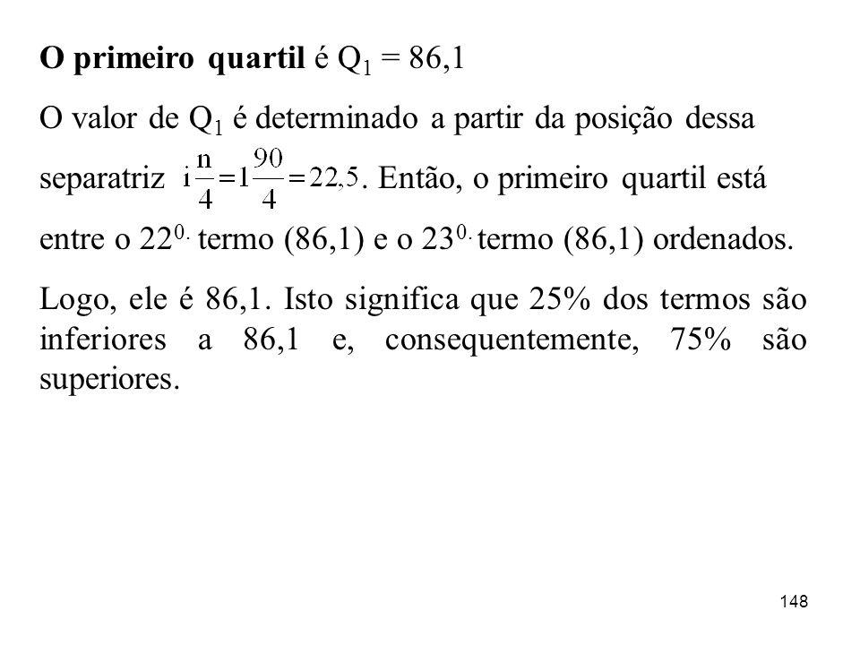 O primeiro quartil é Q1 = 86,1 O valor de Q1 é determinado a partir da posição dessa.