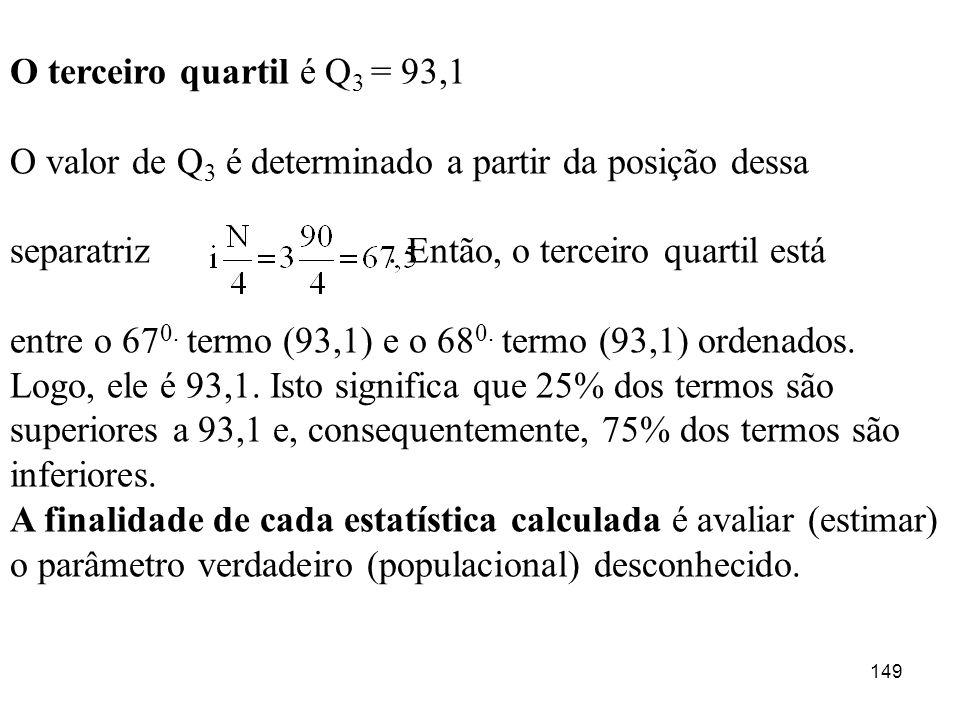 O terceiro quartil é Q3 = 93,1 O valor de Q3 é determinado a partir da posição dessa.