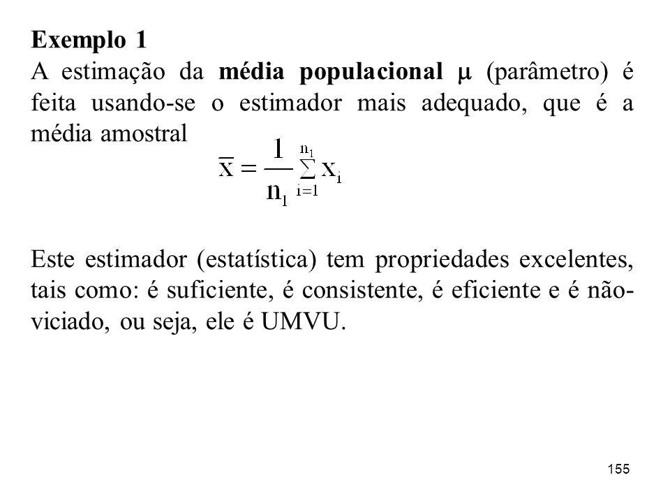 Exemplo 1 A estimação da média populacional  (parâmetro) é feita usando-se o estimador mais adequado, que é a média amostral.