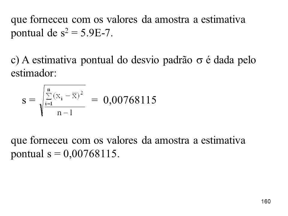 que forneceu com os valores da amostra a estimativa pontual de s2 = 5