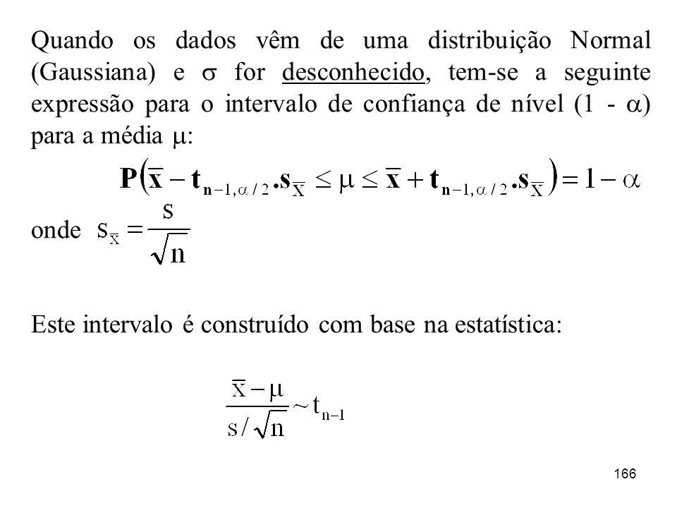 Quando os dados vêm de uma distribuição Normal (Gaussiana) e  for desconhecido, tem-se a seguinte expressão para o intervalo de confiança de nível (1 - ) para a média :