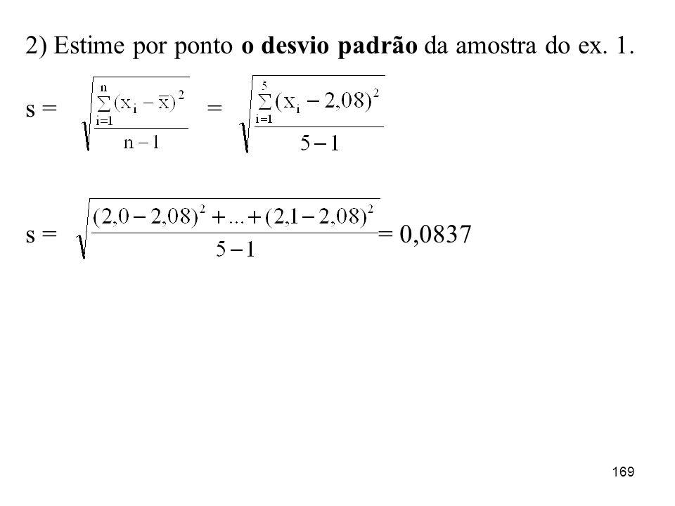 2) Estime por ponto o desvio padrão da amostra do ex. 1.