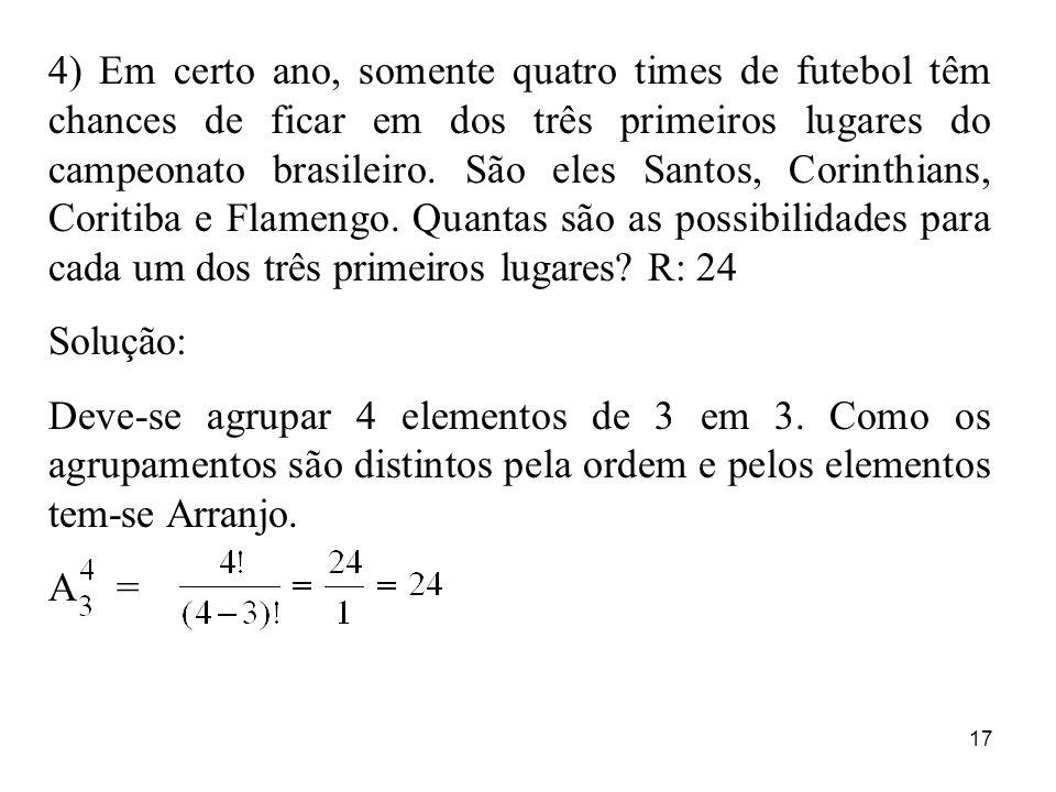 4) Em certo ano, somente quatro times de futebol têm chances de ficar em dos três primeiros lugares do campeonato brasileiro. São eles Santos, Corinthians, Coritiba e Flamengo. Quantas são as possibilidades para cada um dos três primeiros lugares R: 24