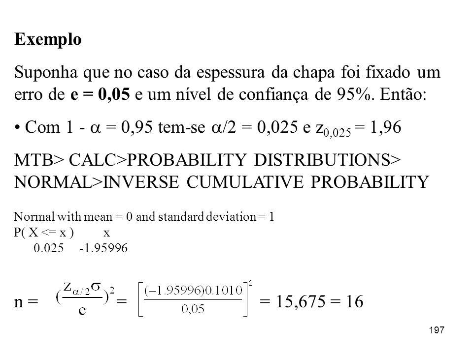 Exemplo Suponha que no caso da espessura da chapa foi fixado um erro de e = 0,05 e um nível de confiança de 95%. Então: