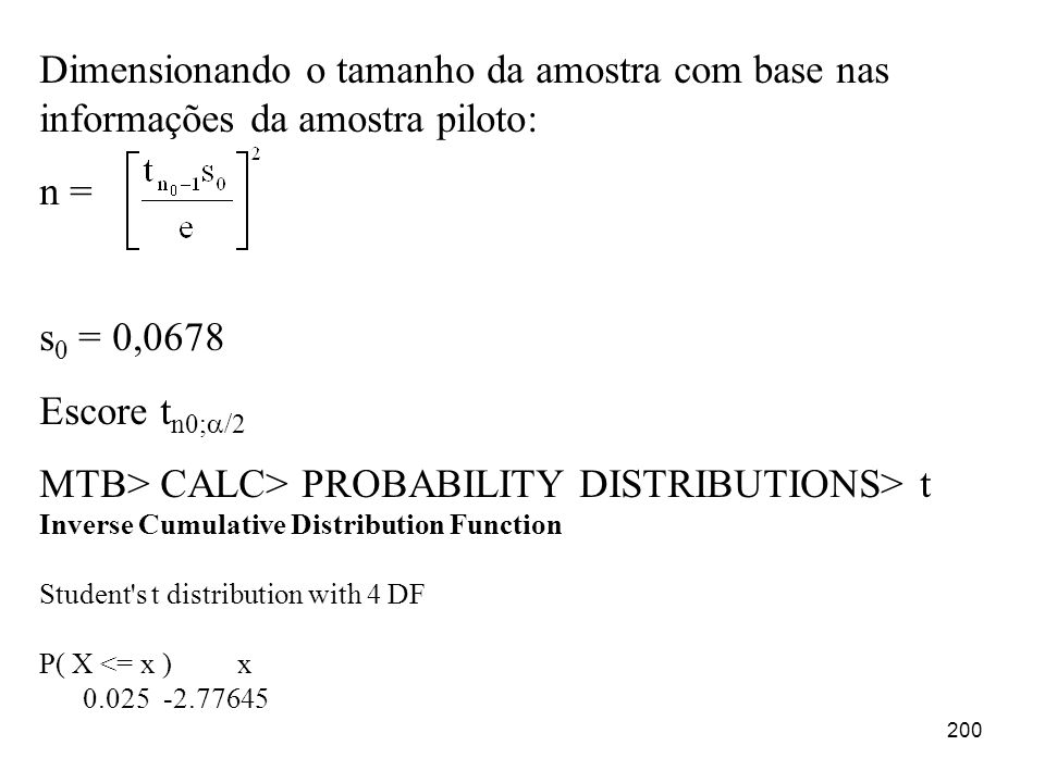MTB> CALC> PROBABILITY DISTRIBUTIONS> t