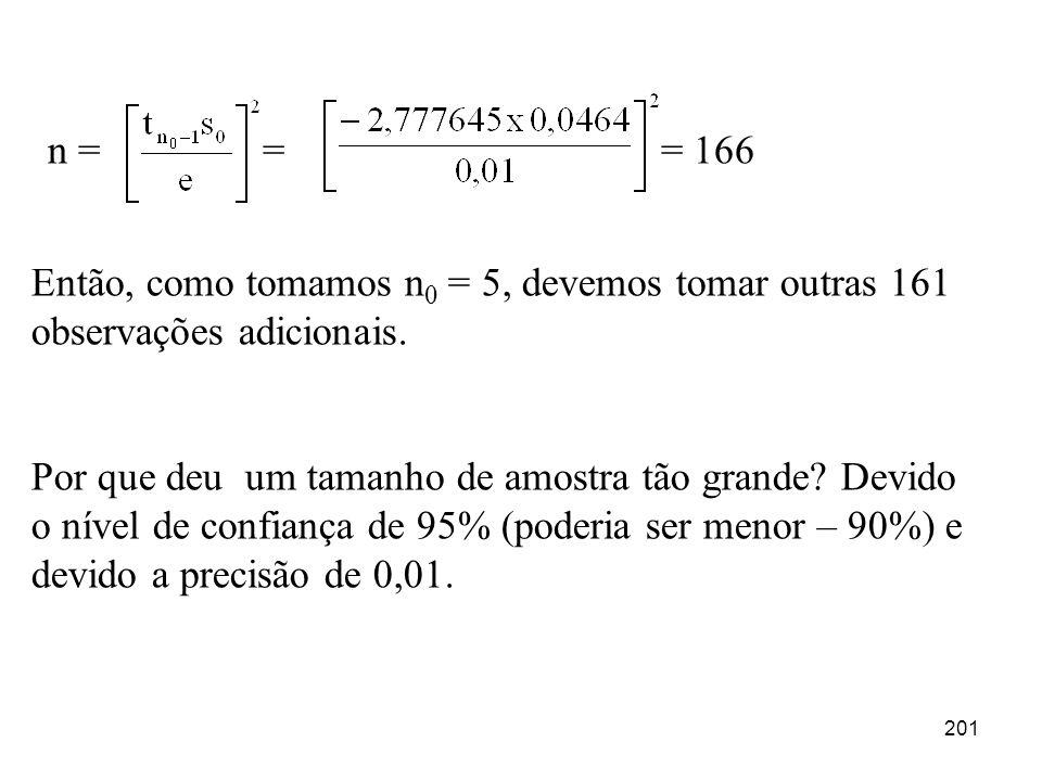 n = = = 166 Então, como tomamos n0 = 5, devemos tomar outras 161 observações adicionais.