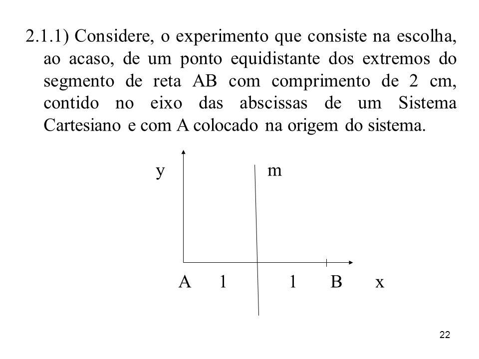 2.1.1) Considere, o experimento que consiste na escolha, ao acaso, de um ponto equidistante dos extremos do segmento de reta AB com comprimento de 2 cm, contido no eixo das abscissas de um Sistema Cartesiano e com A colocado na origem do sistema.