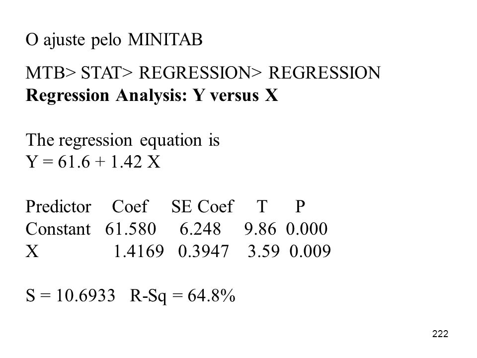 O ajuste pelo MINITAB MTB> STAT> REGRESSION> REGRESSION. Regression Analysis: Y versus X. The regression equation is.