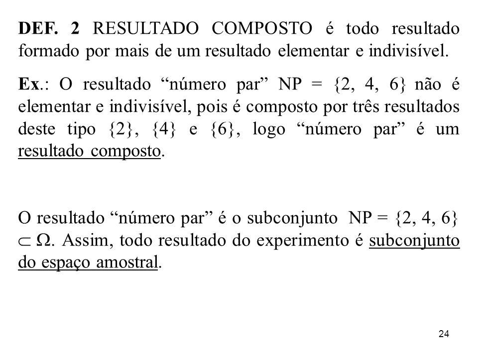 DEF. 2 RESULTADO COMPOSTO é todo resultado formado por mais de um resultado elementar e indivisível.