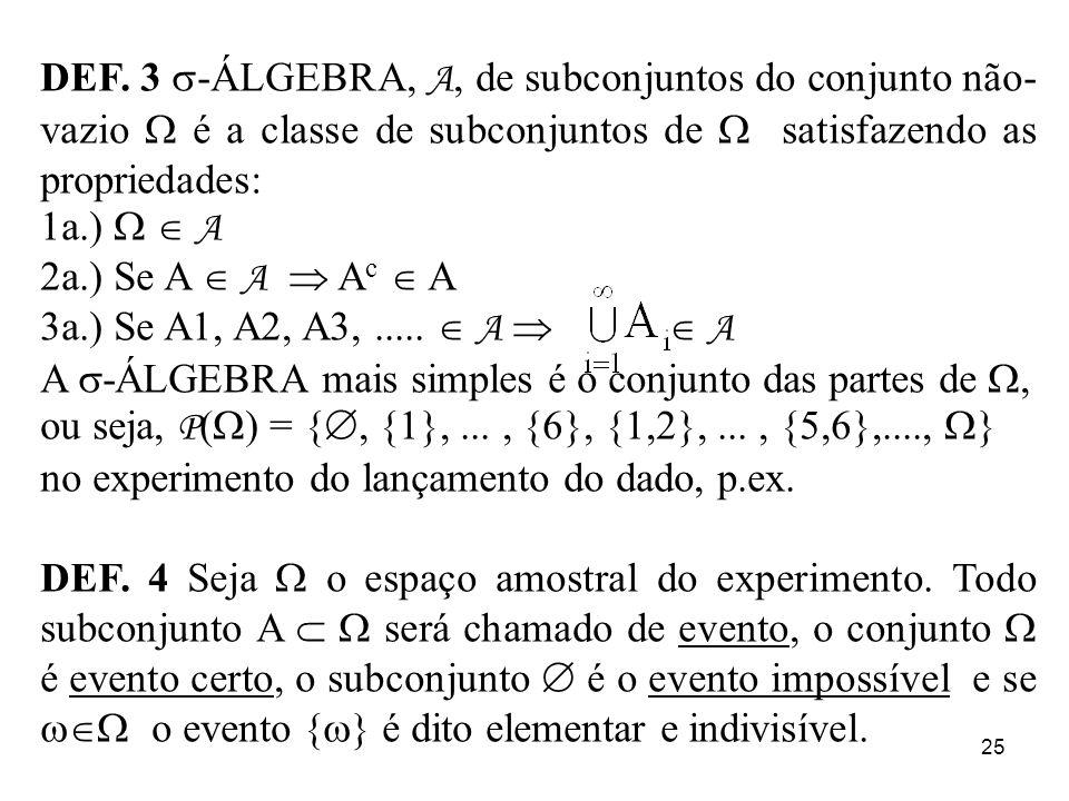 DEF. 3 -ÁLGEBRA, A, de subconjuntos do conjunto não-vazio  é a classe de subconjuntos de  satisfazendo as propriedades: