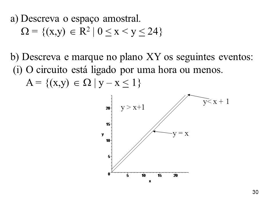 Descreva o espaço amostral.  = {(x,y)  R2 | 0 < x < y < 24}