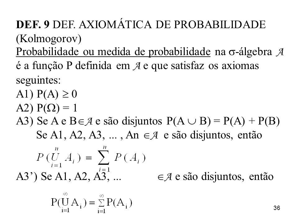DEF. 9 DEF. AXIOMÁTICA DE PROBABILIDADE (Kolmogorov)