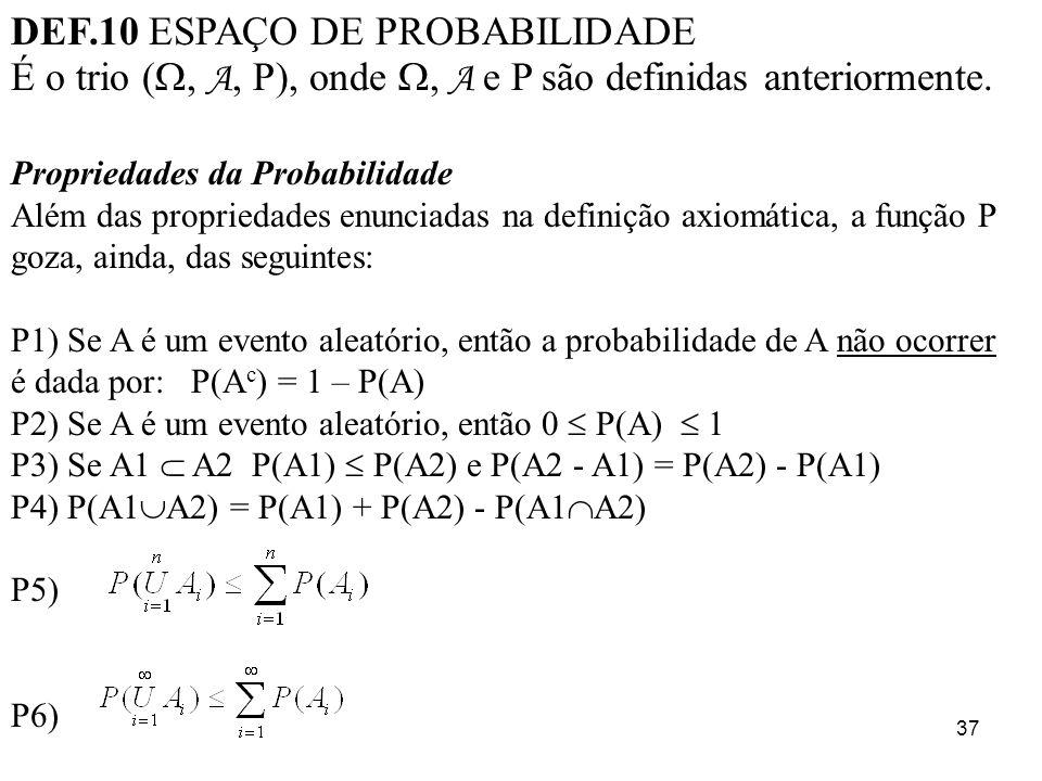 DEF.10 ESPAÇO DE PROBABILIDADE