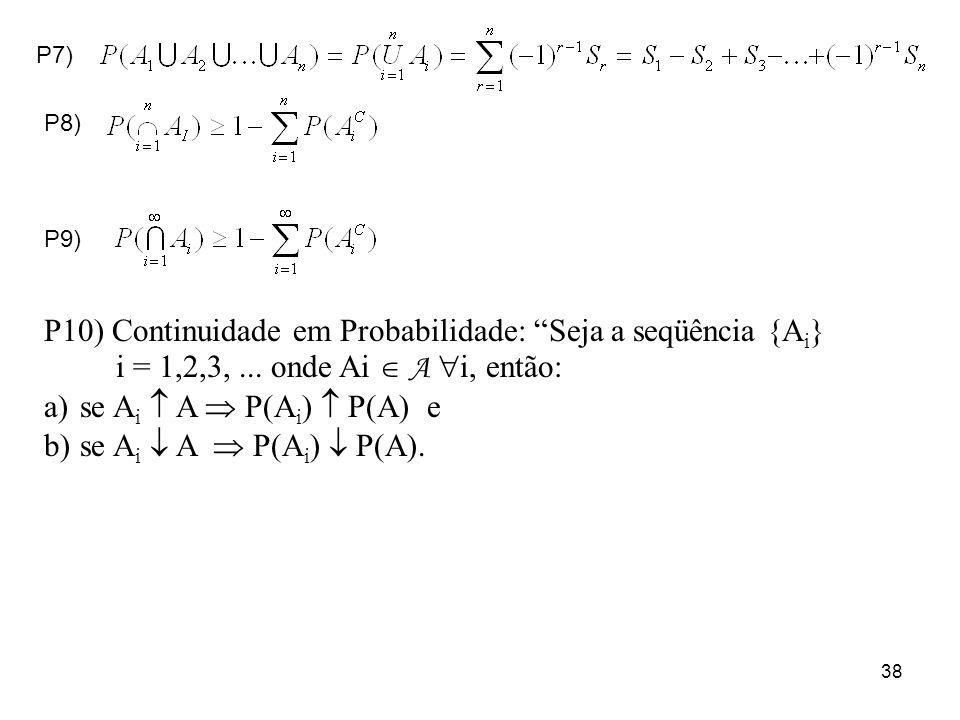 P10) Continuidade em Probabilidade: Seja a seqüência {Ai}