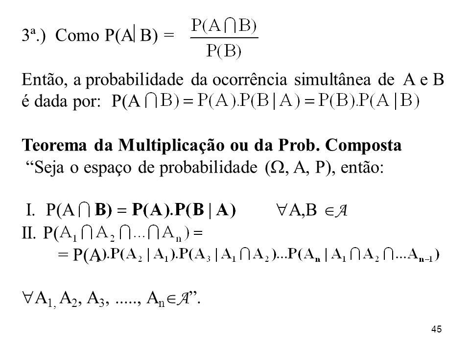 3ª.) Como P(AB) = Então, a probabilidade da ocorrência simultânea de A e B é dada por: P(A. Teorema da Multiplicação ou da Prob. Composta.