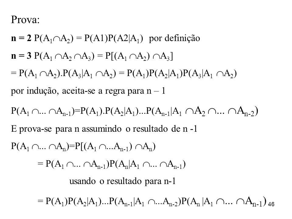 Prova: n = 2 P(A1A2) = P(A1)P(A2|A1) por definição
