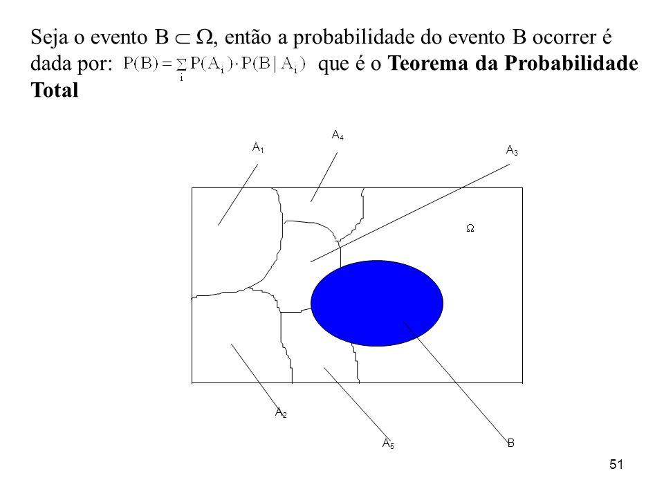 Seja o evento B  , então a probabilidade do evento B ocorrer é dada por: que é o Teorema da Probabilidade Total