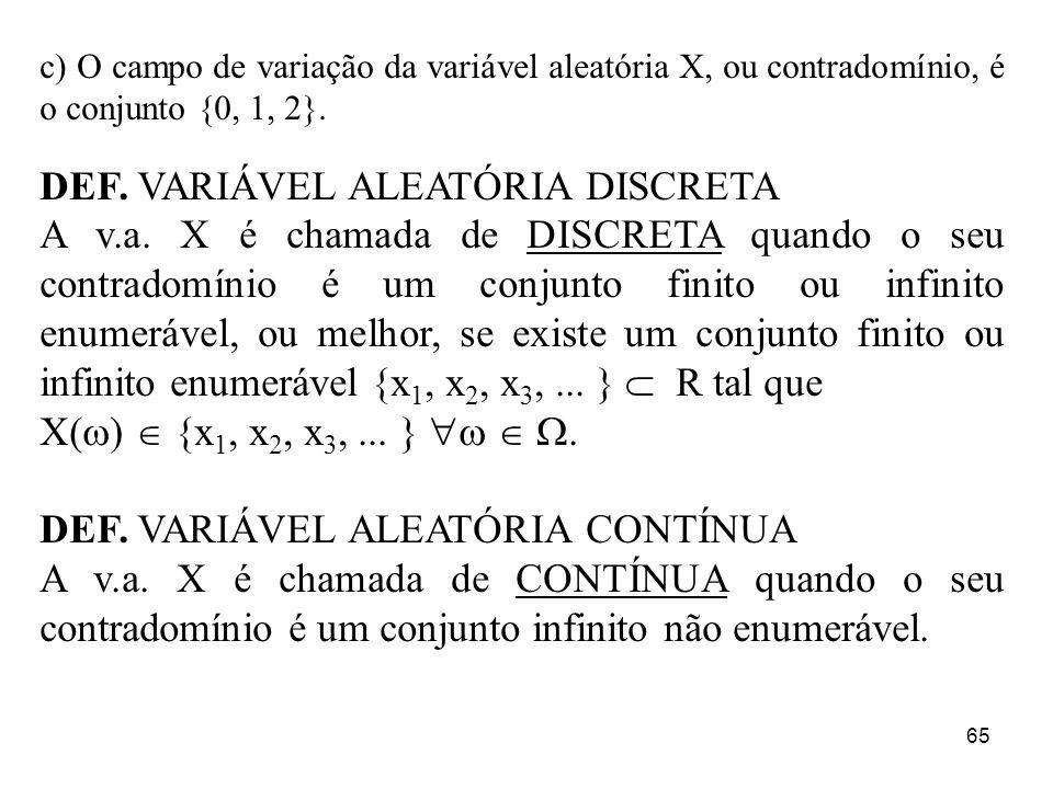 DEF. VARIÁVEL ALEATÓRIA DISCRETA