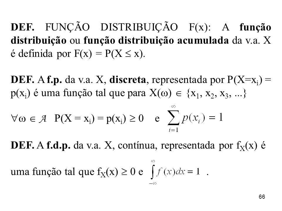 DEF. FUNÇÃO DISTRIBUIÇÃO F(x): A função distribuição ou função distribuição acumulada da v.a. X é definida por F(x) = P(X  x).