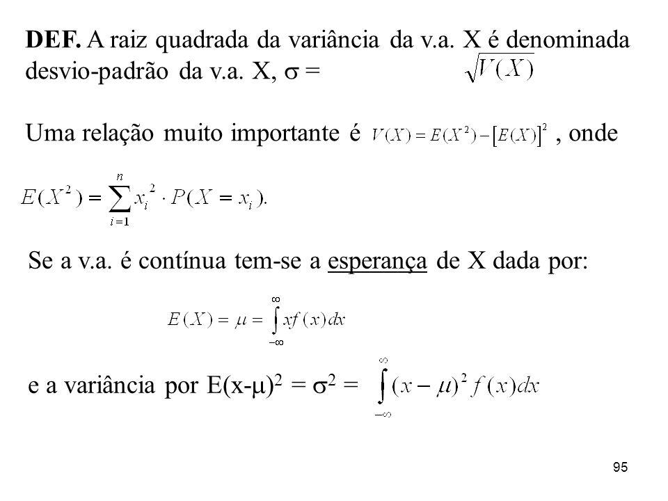 DEF. A raiz quadrada da variância da v. a