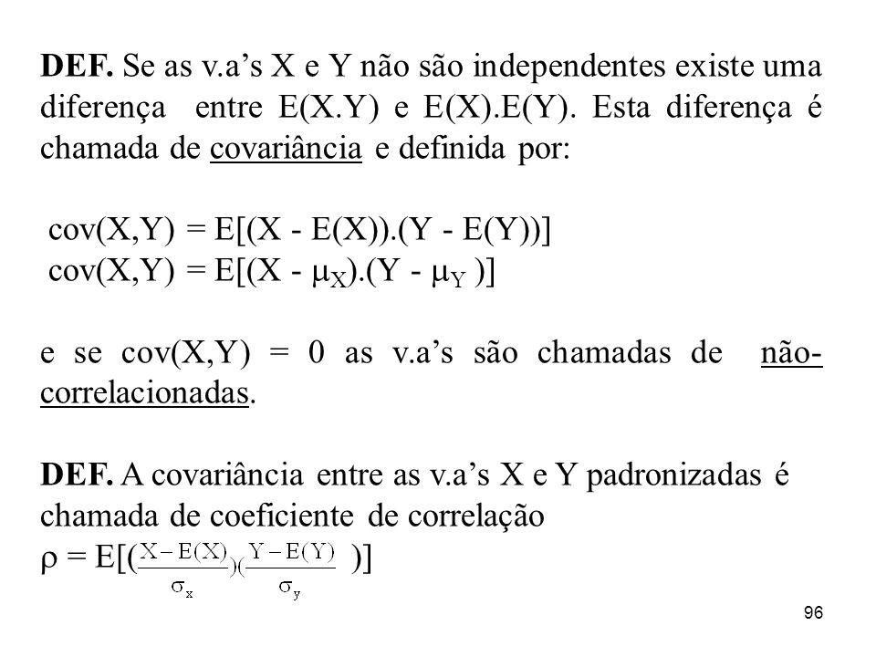 DEF. Se as v.a's X e Y não são independentes existe uma diferença entre E(X.Y) e E(X).E(Y). Esta diferença é chamada de covariância e definida por: