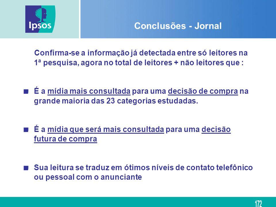 Conclusões - Jornal Confirma-se a informação já detectada entre só leitores na 1ª pesquisa, agora no total de leitores + não leitores que :
