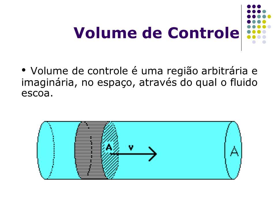 Volume de Controle Volume de controle é uma região arbitrária e imaginária, no espaço, através do qual o fluido escoa.