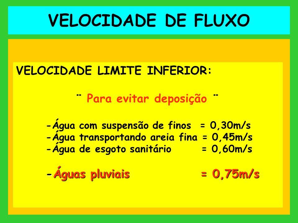 VELOCIDADE DE FLUXO VELOCIDADE LIMITE INFERIOR: