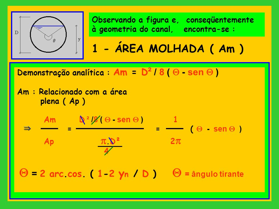 1 - ÁREA MOLHADA ( Am ) Observando a figura e, conseqüentemente