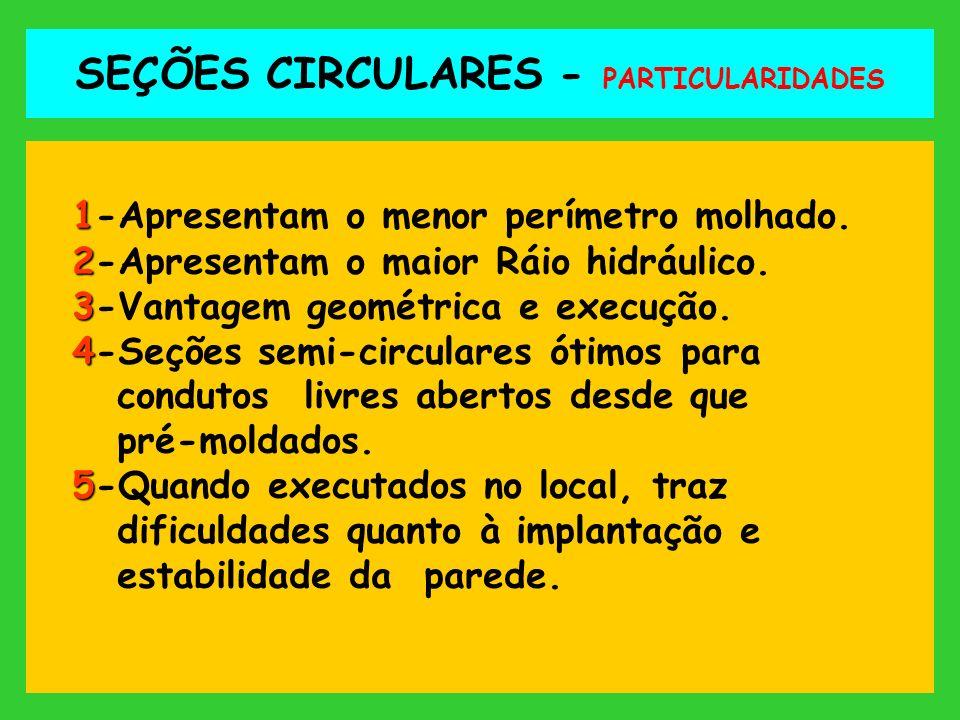 SEÇÕES CIRCULARES - PARTICULARIDADES