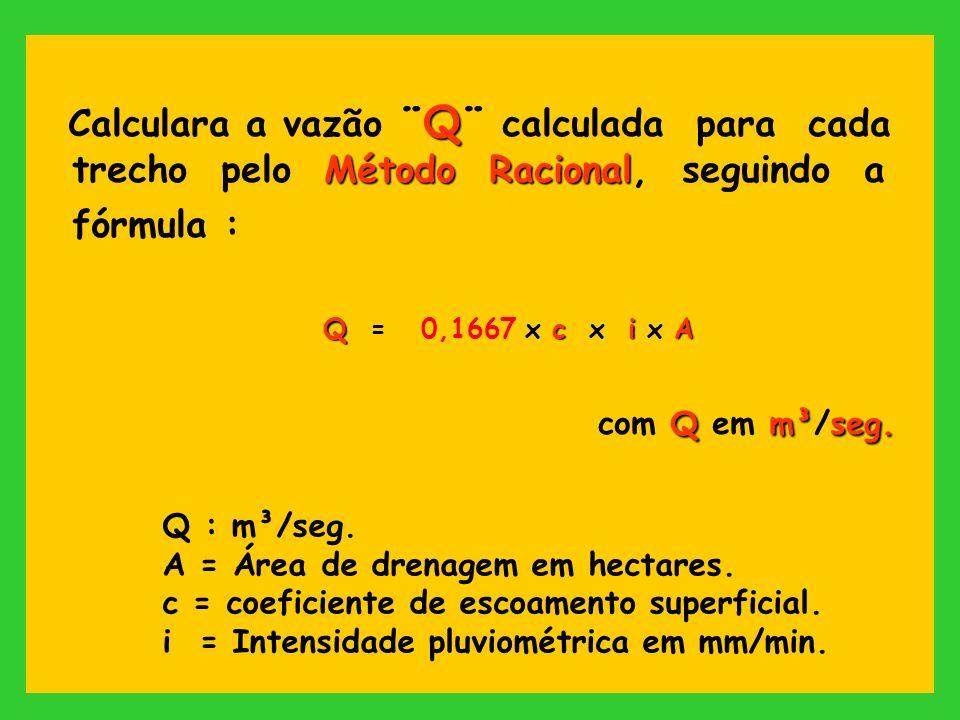 Calculara a vazão ¨Q¨ calculada para cada trecho pelo Método Racional, seguindo a fórmula :