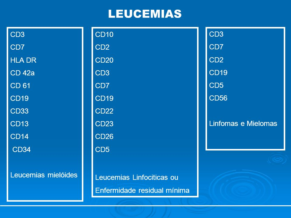 LEUCEMIAS CD3 CD7 HLA DR CD 42a CD 61 CD19 CD33 CD13 CD14 CD34
