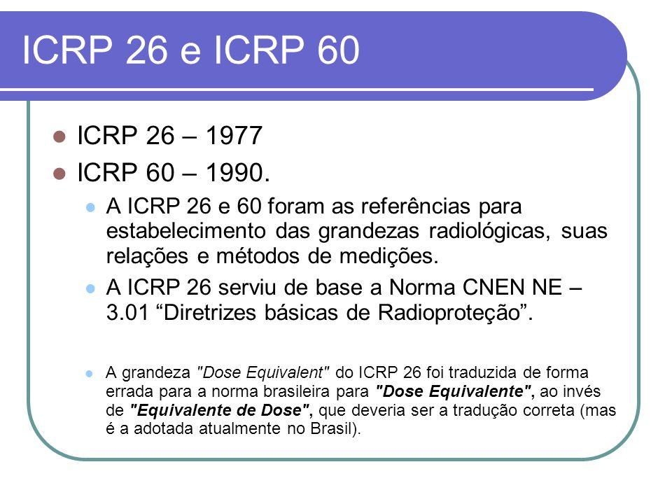 ICRP 26 e ICRP 60 ICRP 26 – 1977. ICRP 60 – 1990.