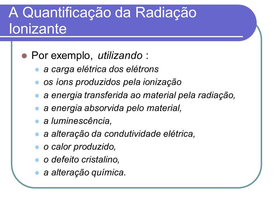 A Quantificação da Radiação Ionizante