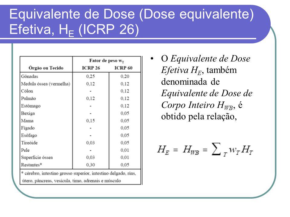 Equivalente de Dose (Dose equivalente) Efetiva, HE (ICRP 26)